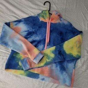 Tie Dye Fleece cropped hoodie